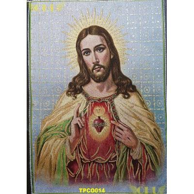 Tapisserie : Sacré-Coeur de Jésus en fil d'or (Version 2)