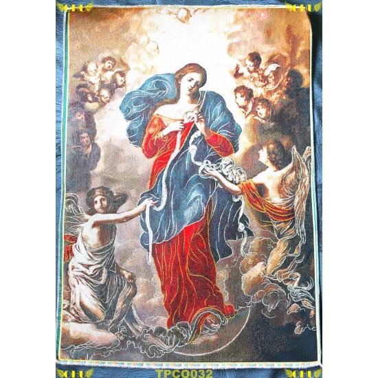 Tapisserie : Notre Dame qui défait les noeuds en fil d'or