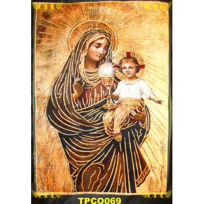 Tapisserie : Notre Dame de saint sacrement en fil d'or