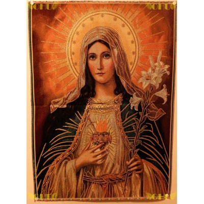 Tapisserie : Sacré Coeur de Marie en fil d'or